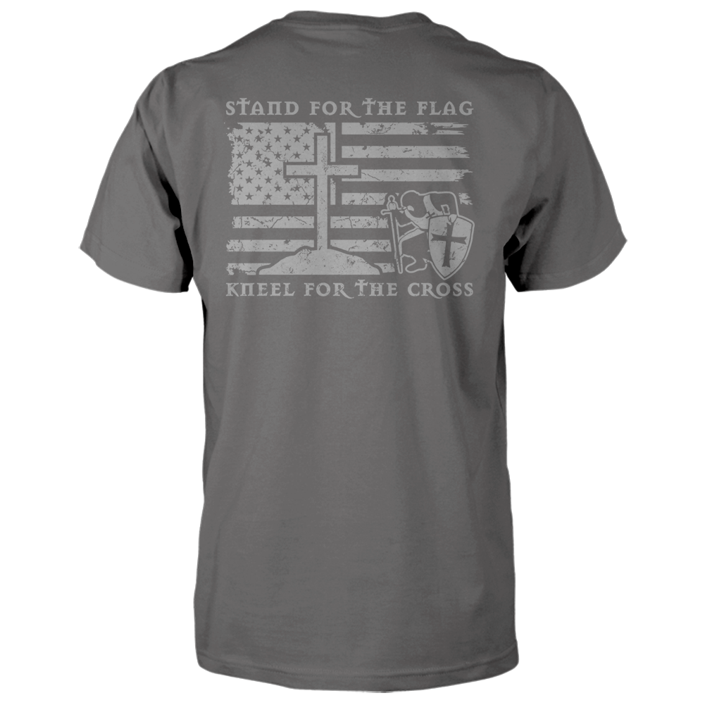 Stand For The Flag, Kneel For The Cross Shirt - Charcoal