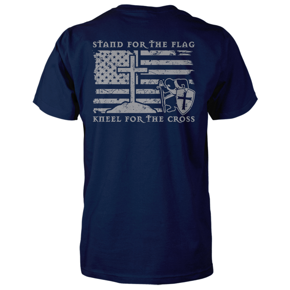 Stand For The Flag, Kneel For The Cross Shirt - Navy