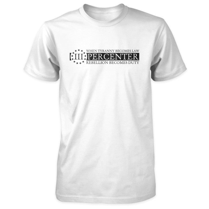 Three Percenter Shirt - When Tyranny Becomes Law v2.0 - White
