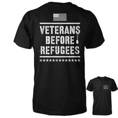 Three Percenter Shirt - Veterans Before Refugees | Back Print - Black