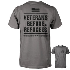 Three Percenter Shirt - Veterans Before Refugees | Back Print - Charcoal