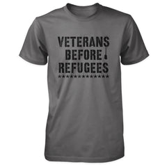 Three Percenter Shirt - Veterans Before Refugees | Front Print - Charcoal