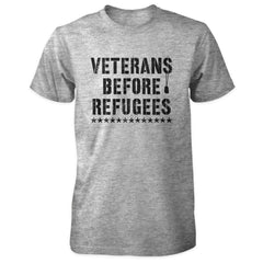 Three Percenter Shirt - Veterans Before Refugees | Front Print - Grey