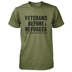 Three Percenter Shirt - Veterans Before Refugees | Front Print - Military