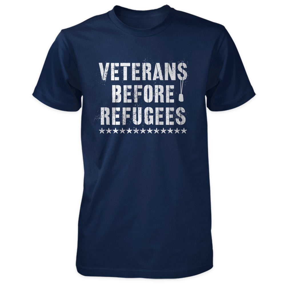 Three Percenter Shirt - Veterans Before Refugees | Front Print - Navy