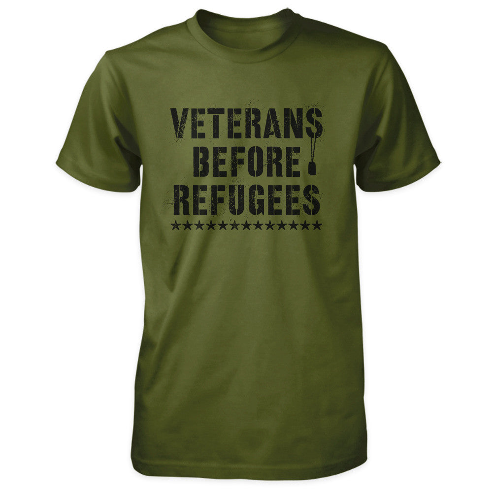 Three Percenter Shirt - Veterans Before Refugees | Front Print - Olive