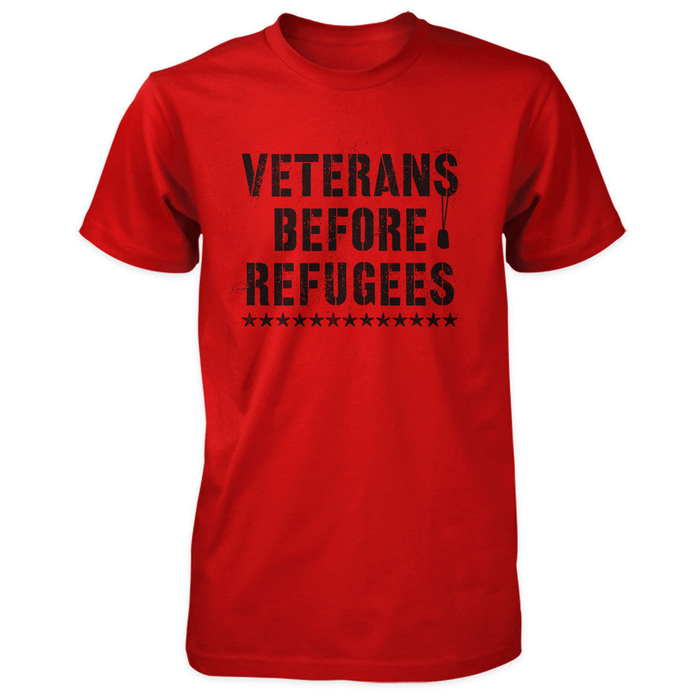 Three Percenter Shirt - Veterans Before Refugees | Front Print - Red