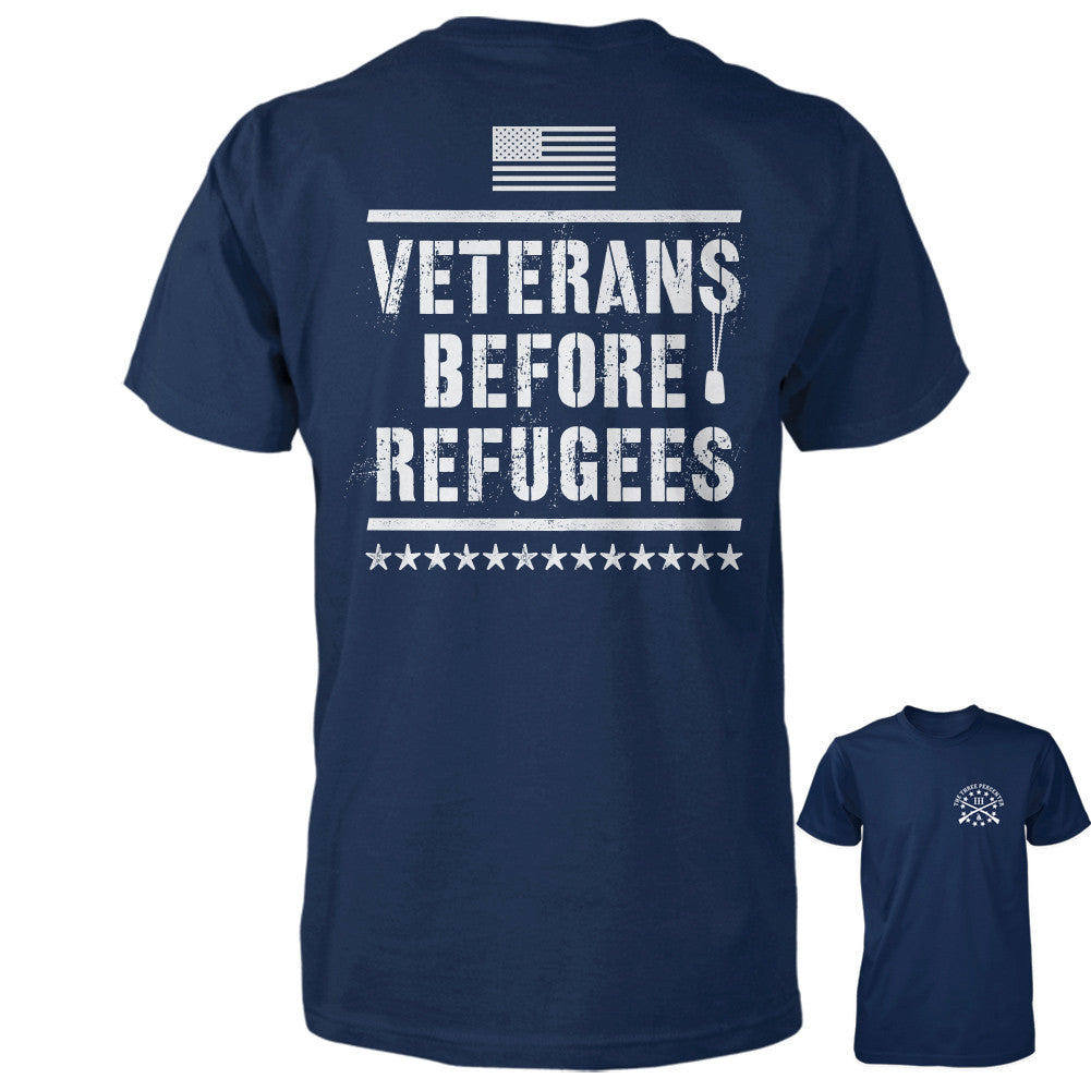 Three Percenter Shirt - Veterans Before Refugees | Back Print - Navy