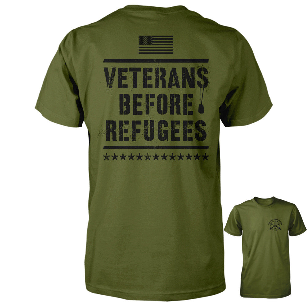 Three Percenter Shirt - Veterans Before Refugees | Back Print - Olive