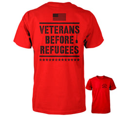 Three Percenter Shirt - Veterans Before Refugees | Back Print - Red