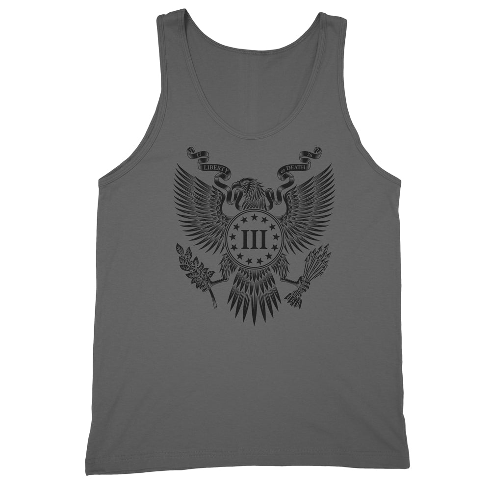 Three Percenter Mens Tank Top - Great Seal of the III Percent | Front Print - Charcoal with Black