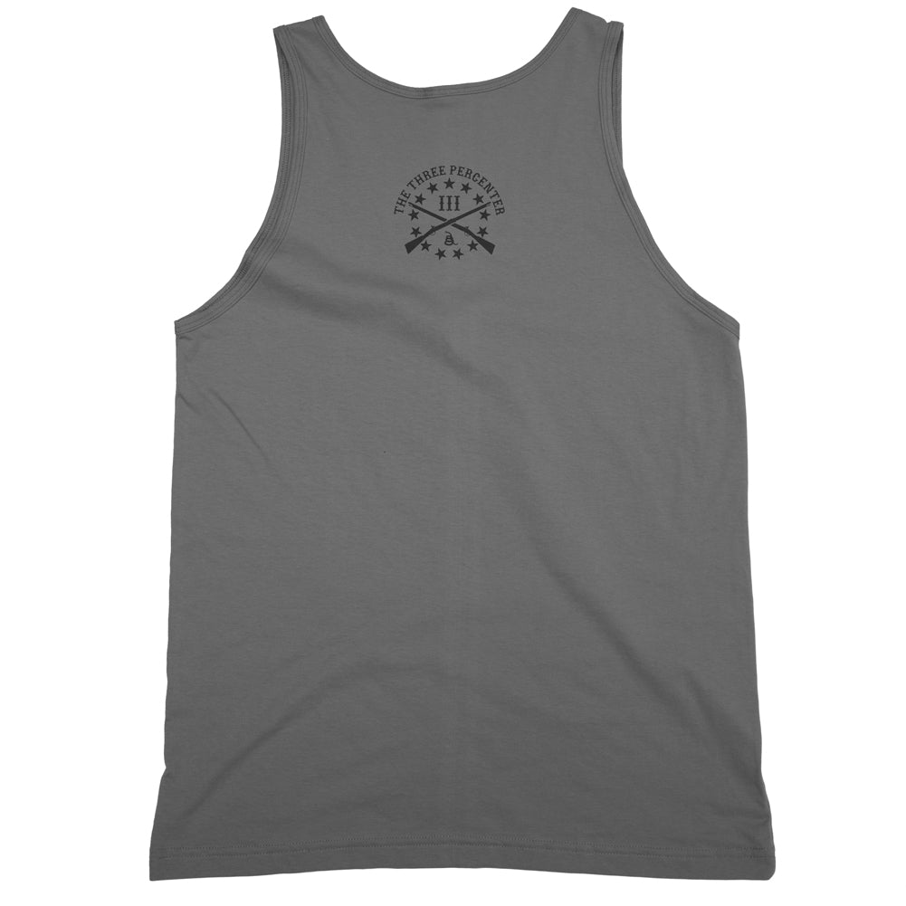 Three Percenter Mens Tank Top - Great Seal of the III Percent | Small OG Logo Front Print - Small OG Back Print - Charcoal with Black