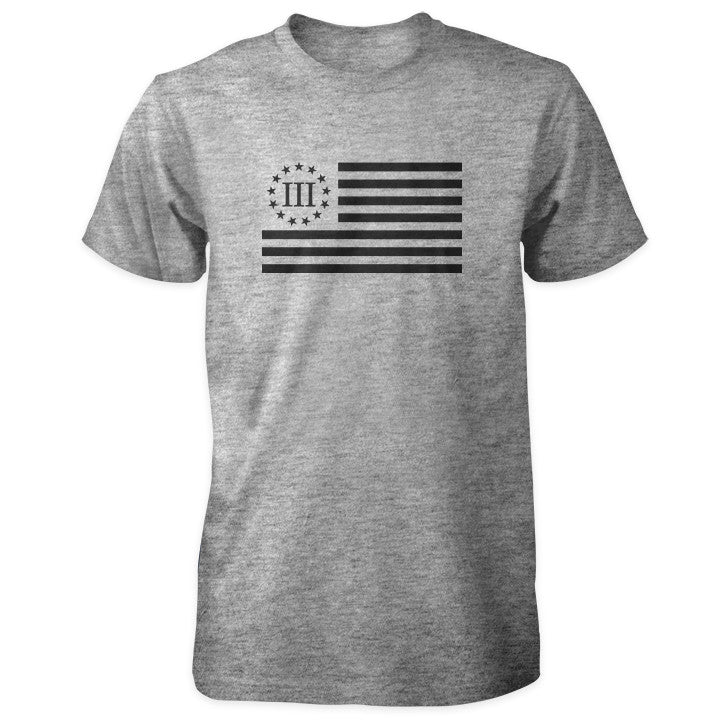 Three Percenter Shirt - III Percenter Flag Sports Grey