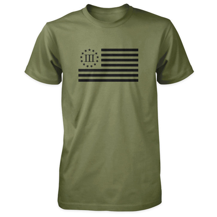 Three Percenter Shirt - III Percenter Flag - Military / Black