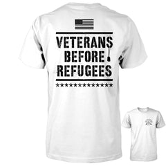 Three Percenter Shirt - Veterans Before Refugees - White with Black