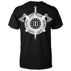 Three Percenter Shirt - Viking Shield & Axes | Back Print - Black