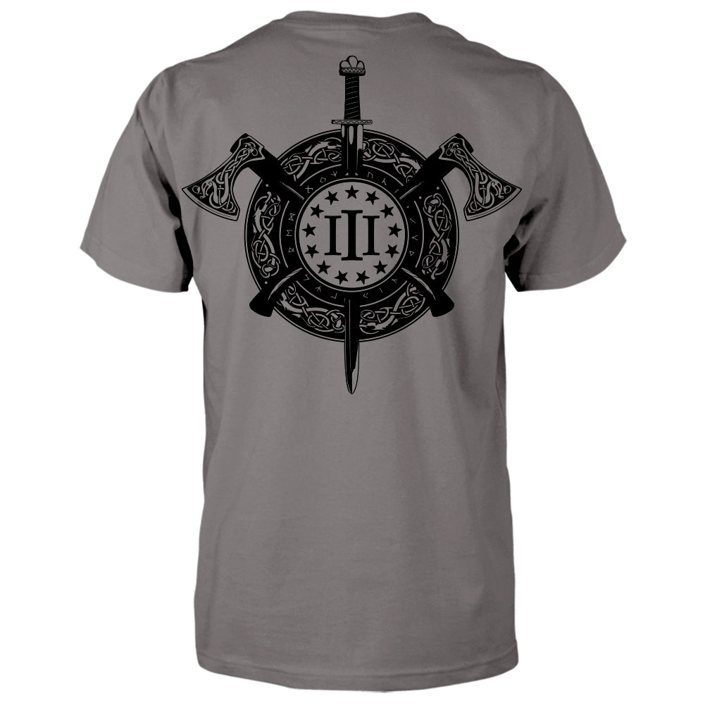 Three Percenter Shirt - Viking Shield & Axes | Back Print - Charcoal