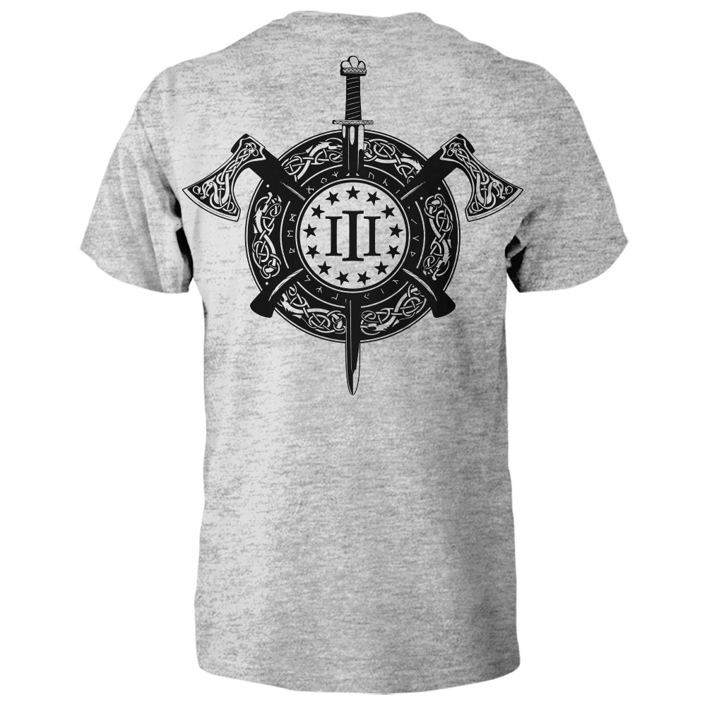 Three Percenter Shirt - Viking Shield & Axes | Back Print - Sports Grey