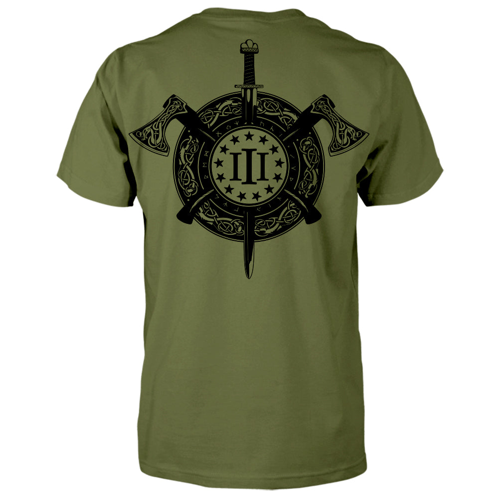 Three Percenter Shirt - Viking Shield & Axes | Back Print - Military