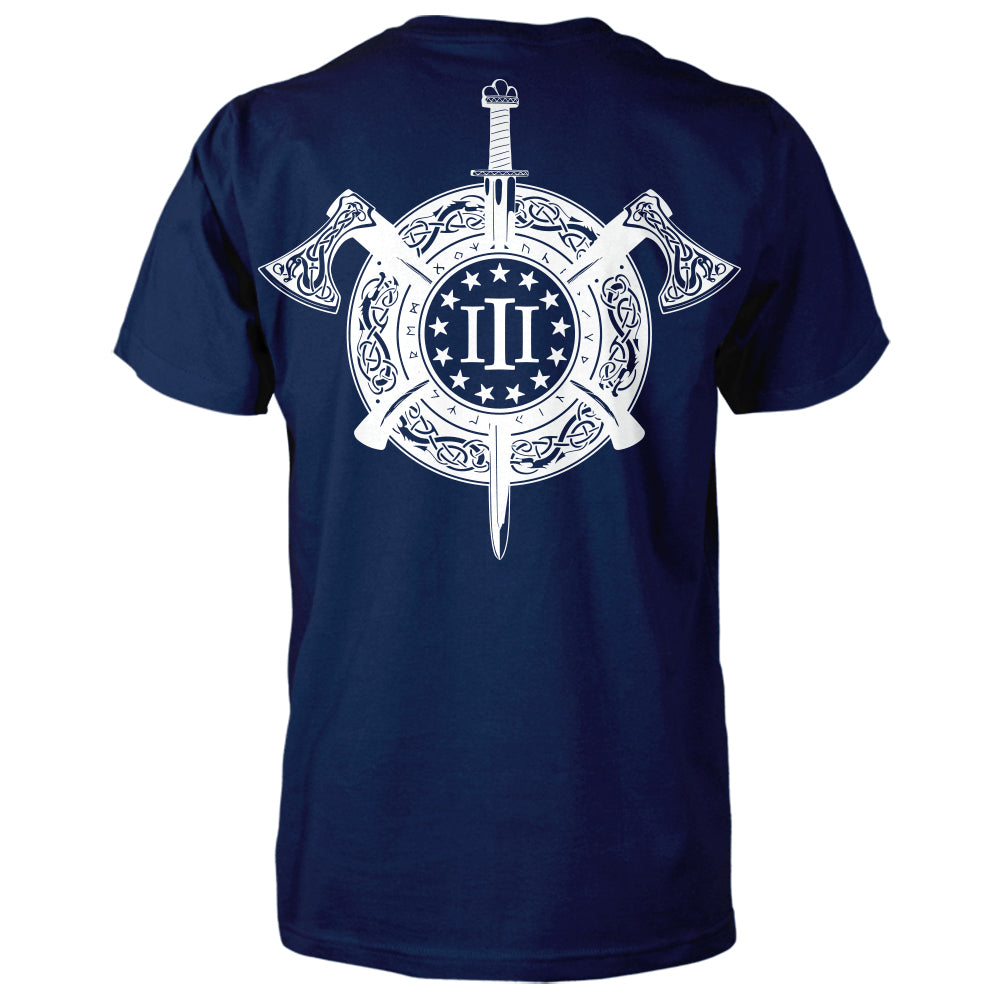 Three Percenter Shirt - Viking Shield & Axes | Back Print - Navy