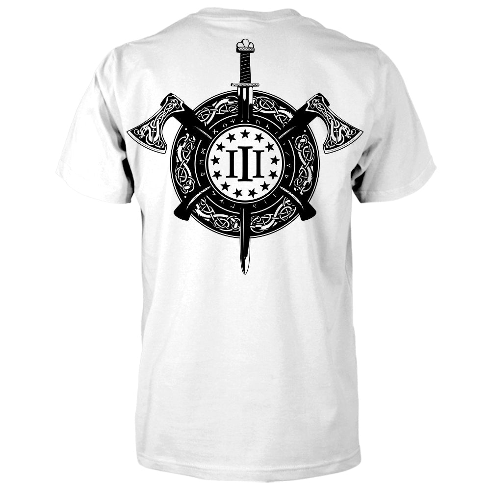 Three Percenter Shirt - Viking Shield & Axes | Back Print - White