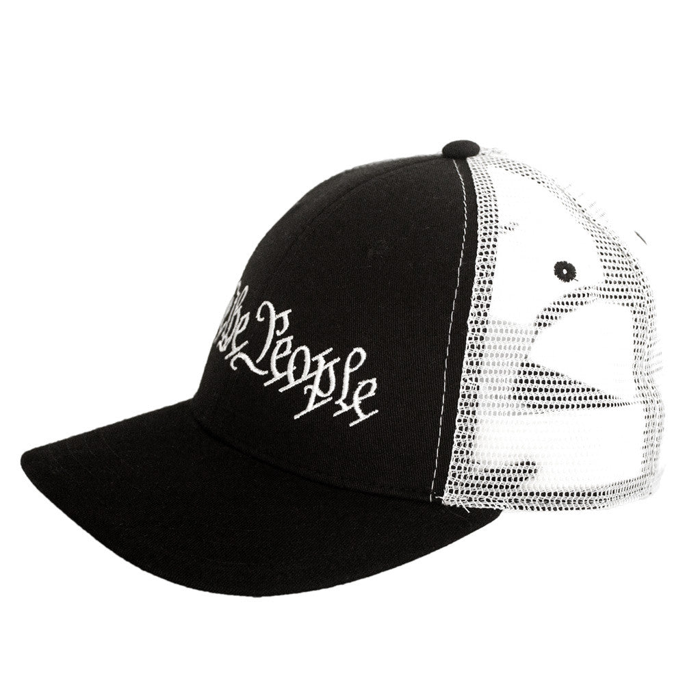 We The People Snapback - Constitution Preamble - Black & White - Side View