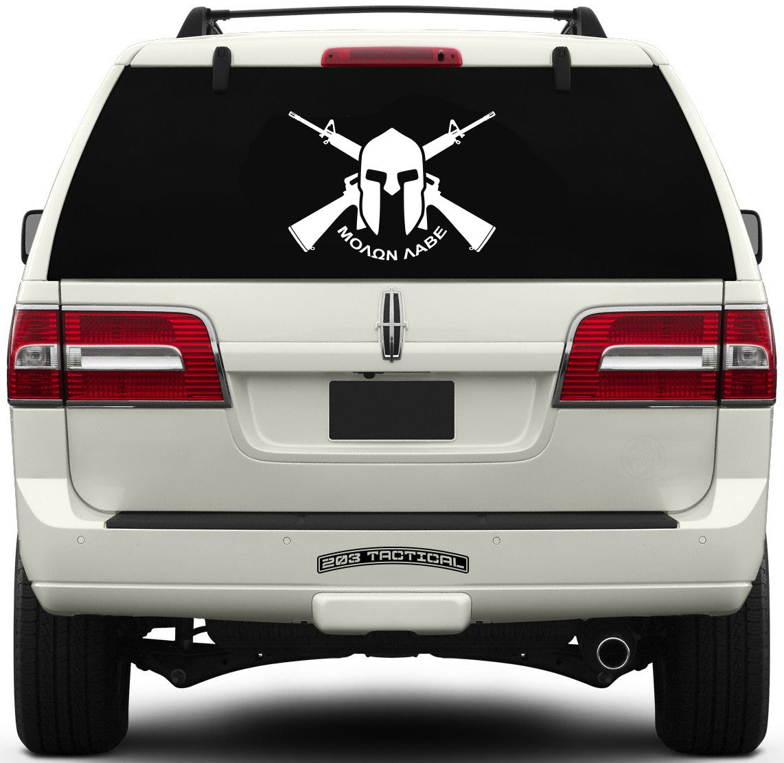 Molon Labe Window Decal - Crossed M16s & Spartan Helmet