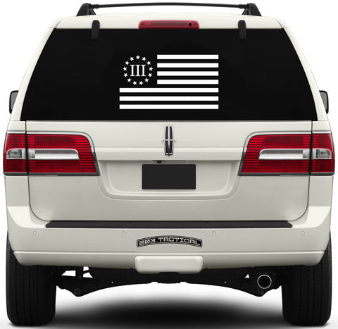 Three Percenter Window Decal - III Percenter Flag