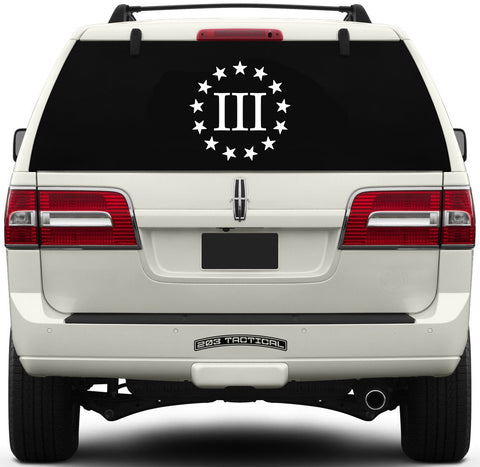 Three Percenter Window Decal - III & 13 Stars