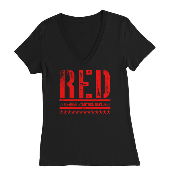 Red Womens Deep V Neck Remember Everyone Deployed