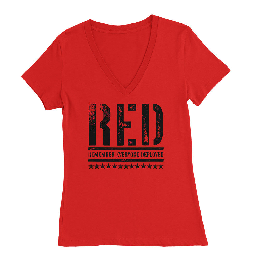 RED Womens Deep V-Neck - Remember Everyone Deployed
