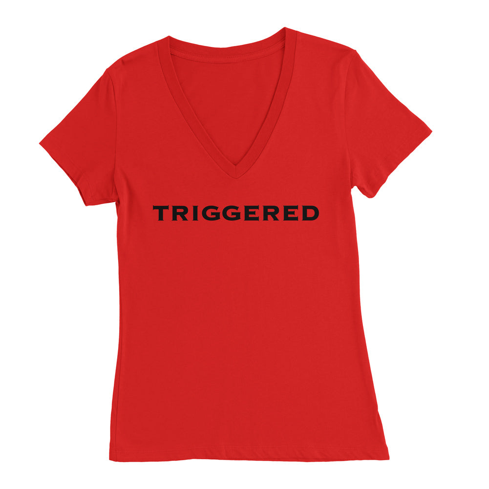 Praetorian Ventures Womens Deep V-Neck - Triggered - Red with Black