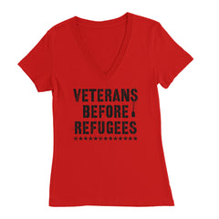 Three Percenter Womens Deep V-Neck - Veterans Before Refugees