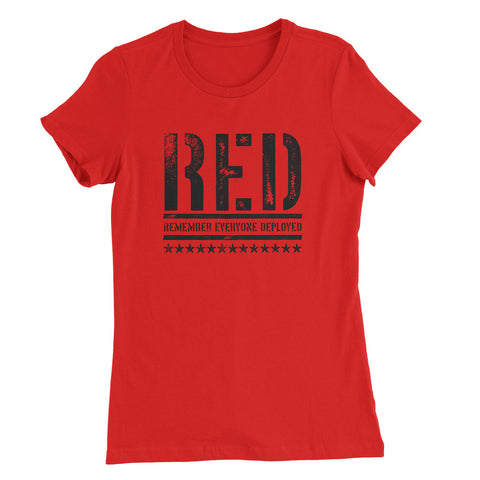 RED Womens Shirt - Remember Everyone Deployed - Red