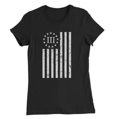Women's Distressed Vertical Flag Shirt - Black