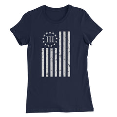 Women's Distressed Vertical Flag Shirt - Navy