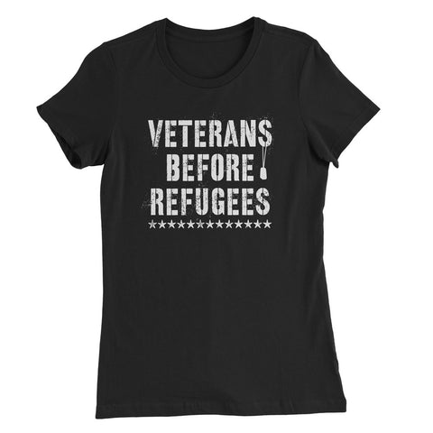 Three Percenter Womens Shirt - Veterans Before Refugees - Black