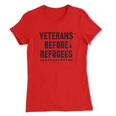 Three Percenter Womens Shirt - Veterans Before Refugees - Red