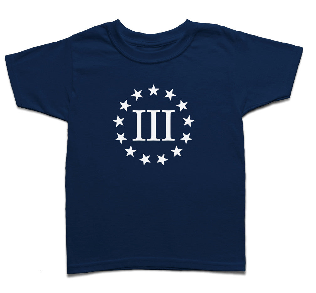 Three Percenter Youth Shirt - III & 13 Stars - Navy