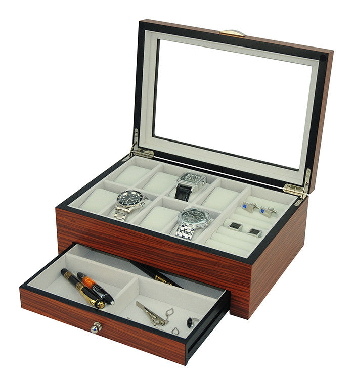 3b14a7efe NEW LUXURY Rosewood Gloss Watch and Jewelry Organization Box,Men's Valet Storage  Box (Rosewood