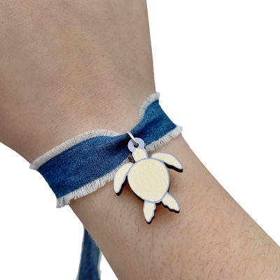 Banana Denim Sea Turtle Bracelet