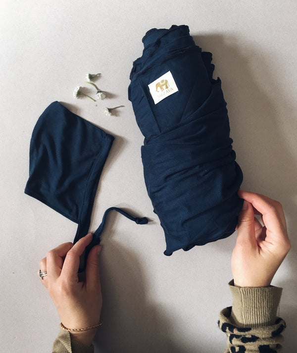 The Newborn Wrap & Bonnet Set - NAVY