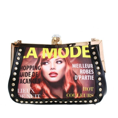 Purse Fashion Magazing Print Clutch