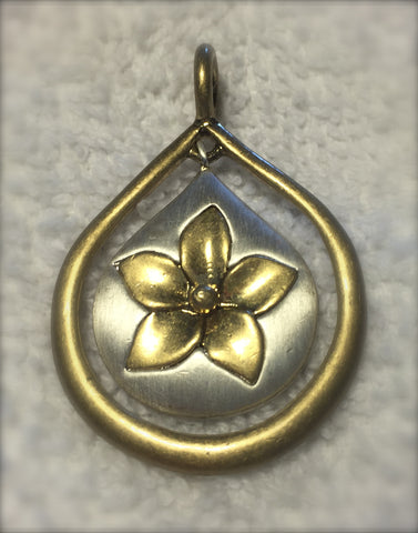 Lia Sophia Antique Silver and Gold Flower Pendant