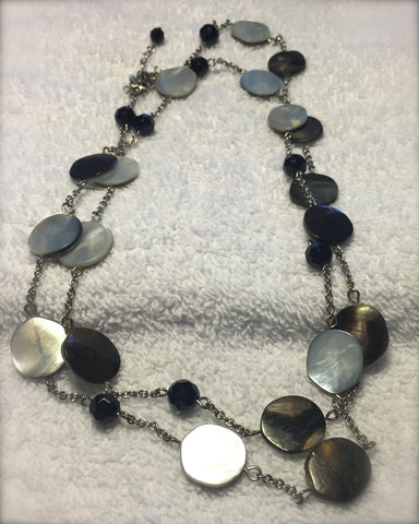 Lia Sophia Silver necklace with mother of pearl and onyx jewels