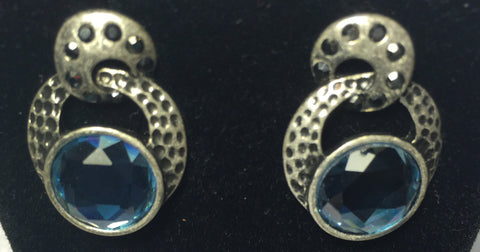 Lia Sophia Dark Grey Rhodium Earrings With Light Blue Stones