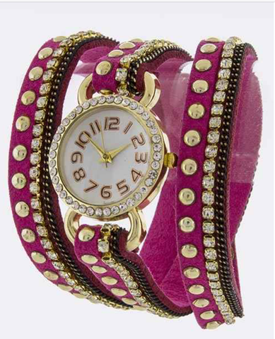Fuschia Wrap-Around Watch