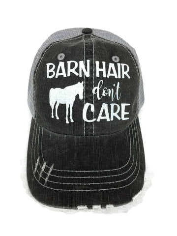 "White glitter ""Barn Hair Don't Care"" with horse design on a Distressed Mesh Back Grey Trucker Cap"