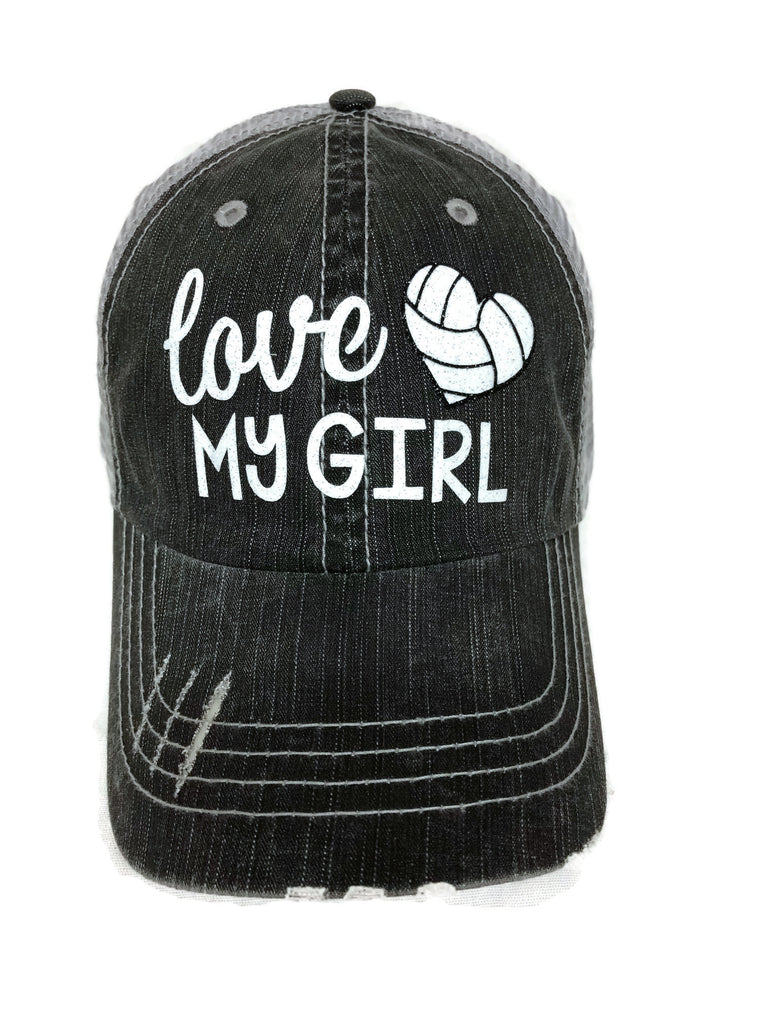 "Glitter vinyl ""Love my Volleyball/Heart Girl"" Design on a Mesh Back Grey Trucker Cap"