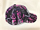 "White glitter vinyl ""Ridin' Dirty"" Buggy design on purple/pink Muddy Girl Camo Baseball Cap"